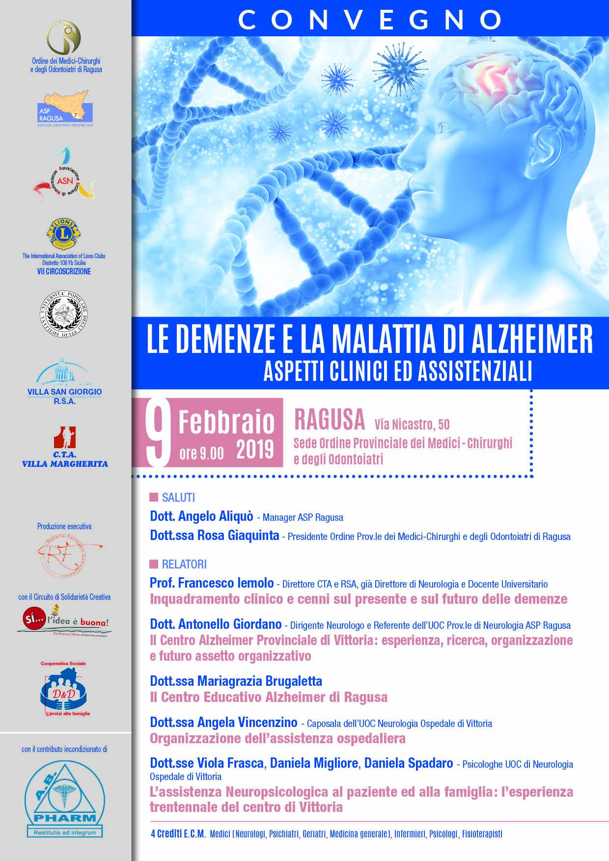 Convegno Alzheimer 9 febbraio 2019